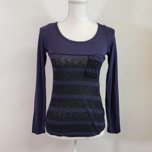 Splendid Casual Long Sleeve Striped Shirt w Pocket
